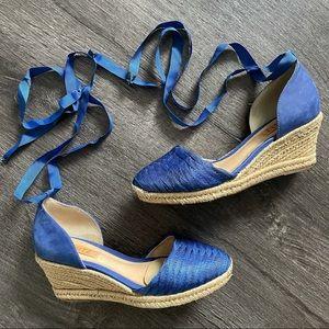 SCHUTZ Royal Blue Lace up Platform Espadrilles (7)